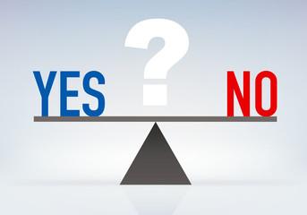 Concept de l'interrogation symbolisée par une balance, avec le choix de répondre par oui ou par non à une questio