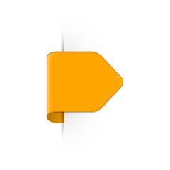 Vector short curved orange bookmark arrow with shadow and copy space