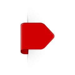 Vector short curved red bookmark arrow with shadow and copy space