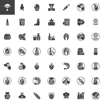 Allergy elements vector icons set, modern solid symbol collection, filled style pictogram pack. Signs, logo illustration. Set includes icons as Allergen food, Runny nose, Dry eyes, Rash, Nasal spray