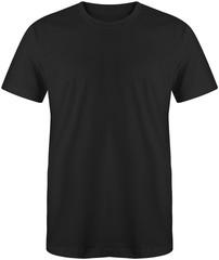 Black t shirt short sleeve isolated on white background