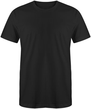 Black t shirt short sleeve isolated on white background