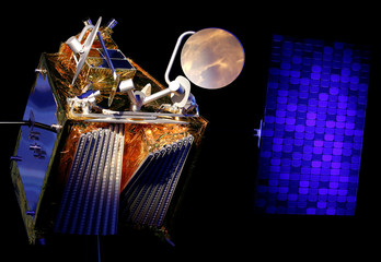 A scale model of an Airbus OneWeb satellite and its solar panel are pictured as Airbus announces annual results in Blagnac, near Toulouse