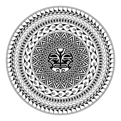 Polynesian circular ornament. Polynesian tattoo. Maori style. Abstract face