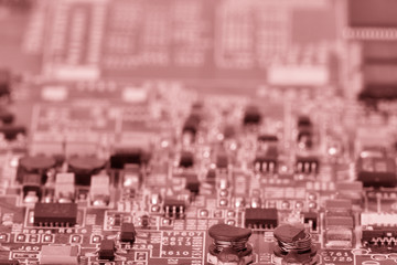 close-up of electronic circuit board with processor Toned image