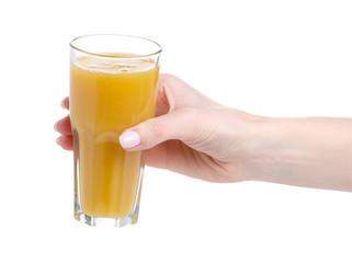 Fruit multifruit orange mango juice in hand on a white background. Isolation