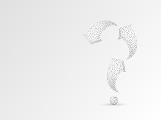 Arrow in form of a question mark. Three arrow goes up and down wireframe digital 3d illustration. Low poly abstract FAQ concept with lines, dots on white background. Raster origami style polygonal RGB