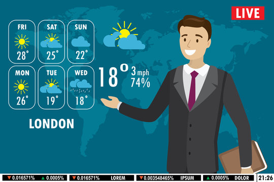 European male news anchor tells weather forecast on tv