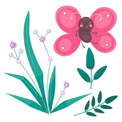 Pink Butterfly and grass with little purple flowers. Cartoon flat vector illustration for children.