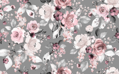 Stores photo Fleurs Vintage Seamless pattern with flowers and leaves. Hand drawn background. floral pattern for wallpaper or fabric. Flower rose. Botanic Tile.