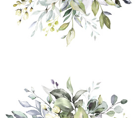 botanical design. herbal banners on white background for wedding invitation, business products. web banner with leaves, herbs