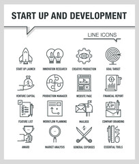 START UP AND DEVELOPMENT LINE ICONS