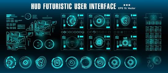 HUD futuristic green user interface, target. Dashboard display virtual reality technology screen
