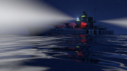 3d illustration of a battleship in the open ocean by night with the searchlights on