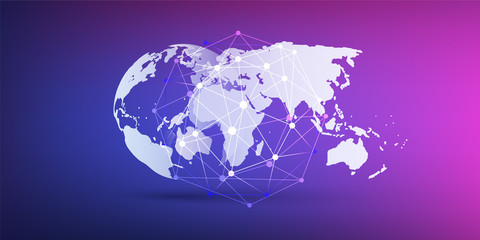 Cloud Computing and Networks Concept, World Map and Network Mesh on Purple Background - Global Digital Connections, Technology Background, Creative Design Element Template