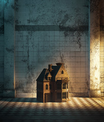 Dollhouse in haunted hallway,3d illustration for book cover