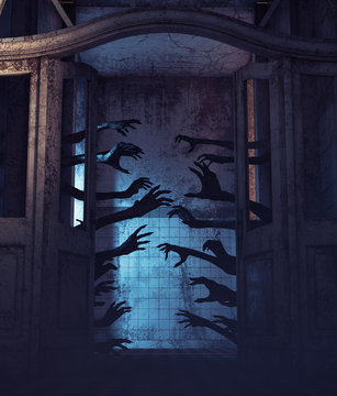 House of a thousand hands,Undead hands behind the doors in a haunted house,3d rendering