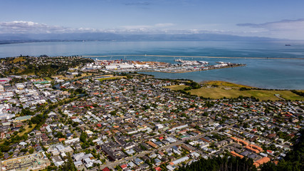 Aerial view from the Center of New Zealand, Nelson, aerial photography of Nelson, drone image New Zealand, centre of New Zealand in nelson