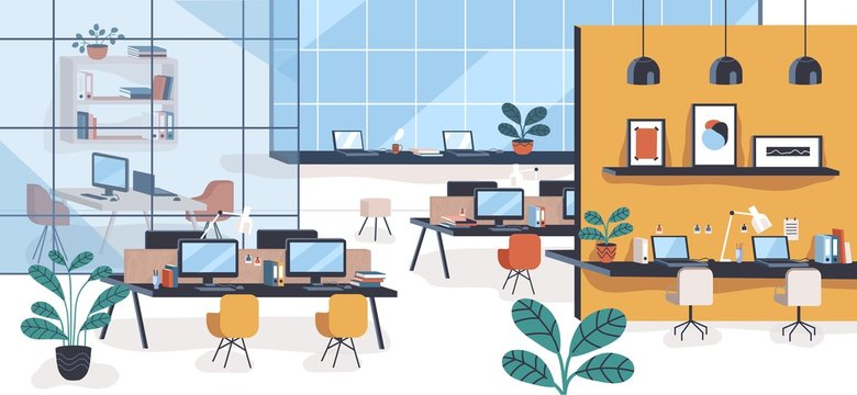 Modern office or open space with desks, computers, chairs. Comfortable co-working area or shared workplace full of stylish furniture and interior decorations. Colorful flat vector illustration.