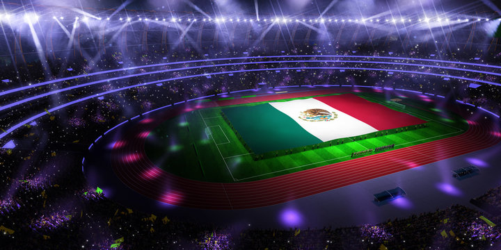 people hold Mexico flag in stadium arena. field 3d photorealistic render