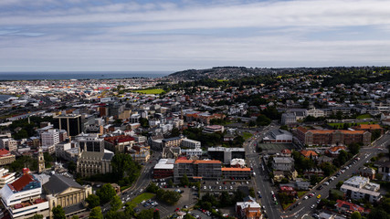 Dunedin from above, drone image of Dunedin New Zealand, city landscape aerial photography