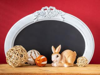 Easter decoration rabbit and vintage frame