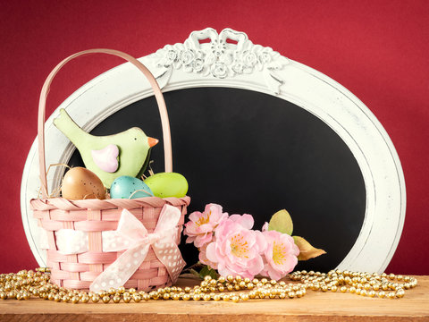 Easter nest with a bird and eggs