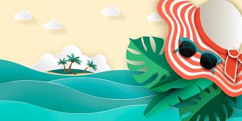 Summer sea background with sea, island, palm sunhat, sunglasses, monstera 3D vector