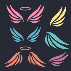 Hand drawn wings logo set. Set of logo with wings. Angels and birds winged labels
