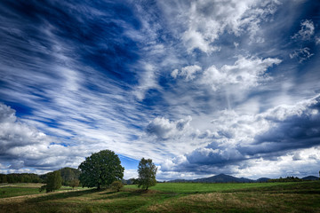 Czech summer landscape. Beautiful white clouds on the blue sky above the green meadow with trees. Wet rainy season. Wild nature,  travelling in Europe.