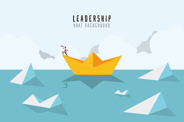 Businessman on paper boat on the sea with icebergs. Symbol of business risk and leadership.