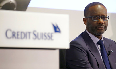 CEO Thiam of Swiss bank Credit Suisse awaits the company's annual news conference in Zurich