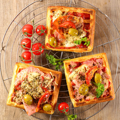 pizza waffle with vegetable