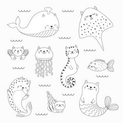 Set of kawaii doodles of sea animals with cat ears, mermaid, jellyfish, ray, whale, fish, seal. Isolated objects. Hand drawn vector illustration. Line drawing. Design concept coloring pages for kids.