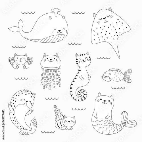 quot Set of kawaii doodles of sea animals