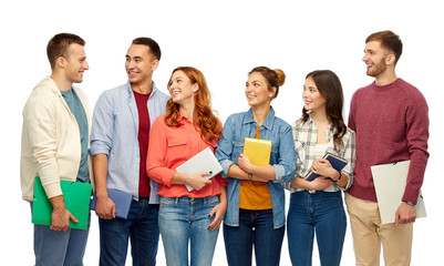 education, high school and people concept - group of smiling students talking over white background