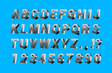 Metallic Steel ABC letter alphabeth. Steel type of Text, Letter, font. Isolated on blue background.