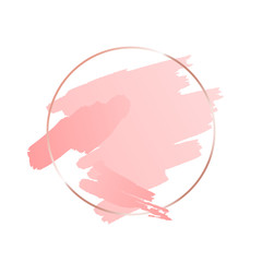 Abstract pink brush background with round geometric frame rose gold color