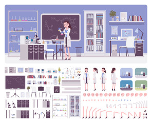 Female young scientist working in laboratory, office interior creation kit, workspace set to build your own design, wall, floor color constructor elements. Cartoon flat style infographic illustration