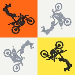 Motorbike and bikers man illustration