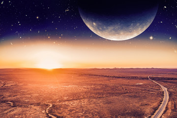 Unreal alien panoramic landscape - planet rising over desert and road at sunrise. Elements of this image are furnished by NASA