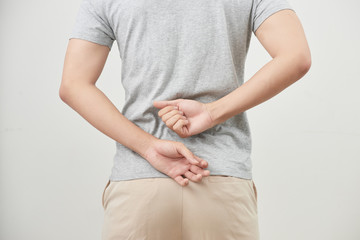 Man with back pain isolated on white background