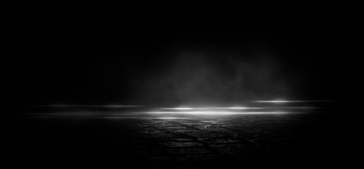 Wet asphalt, reflection of neon lights, a searchlight, smoke. Abstract light in a dark empty street with smoke, smog. Dark background scene of empty street, night view, night city. Wall mural