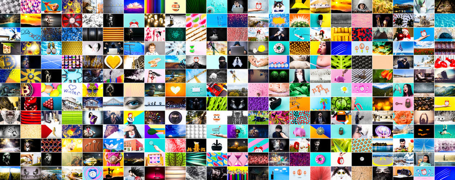 a wall of images, a collage of colorful stock photos on various topics, web background