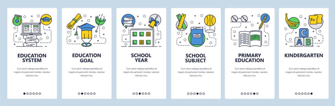 Web site onboarding screens. School education system, primary school and kindergarten. Menu vector banner template for website and mobile app development. Modern design flat illustration.