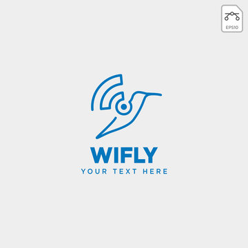 bird wifi flying creative logo template vector illustration icon element