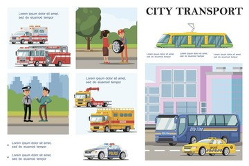 Flat City Transport Infographic Template