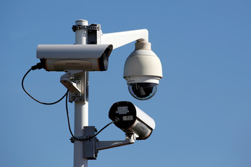 Security cameras are seen is seen at outside the final assembly line site at Airbus headquarters in Blagnac