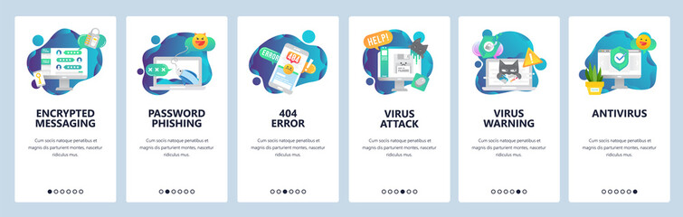 Web site onboarding screens. Cyber security, virus attack and phishing. Antivirus and encrypted messaging. Menu vector banner template for website and mobile app development. design flat illustration.