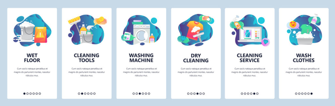 Web site onboarding screens. Cleaning, floor, washing clothes and dry laundry. Menu vector banner template for website and mobile app development. Modern design flat illustration.